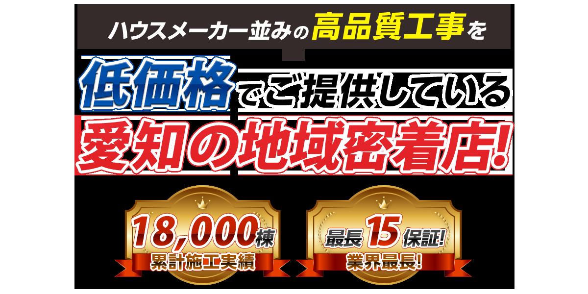 ハウスメーカー並みの高品質工事を低価格でご提供している愛知県の地域密着店!
