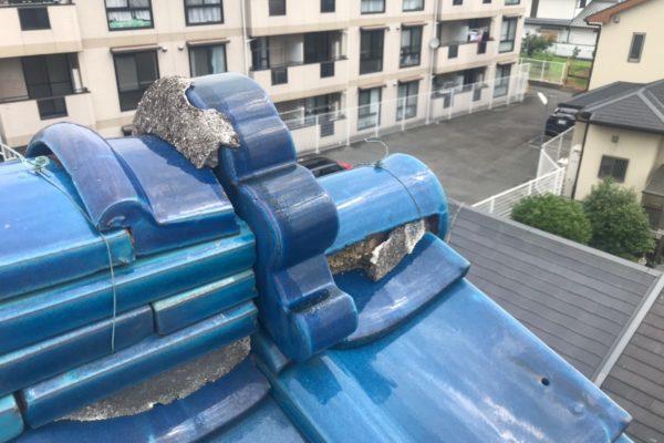 愛知県豊田市 屋根工事 瓦屋根 棟の取り直し 漆喰補修 (1)-min