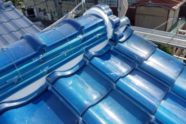 愛知県豊田市 屋根工事 瓦屋根 棟の取り直し 漆喰補修 (2)-min