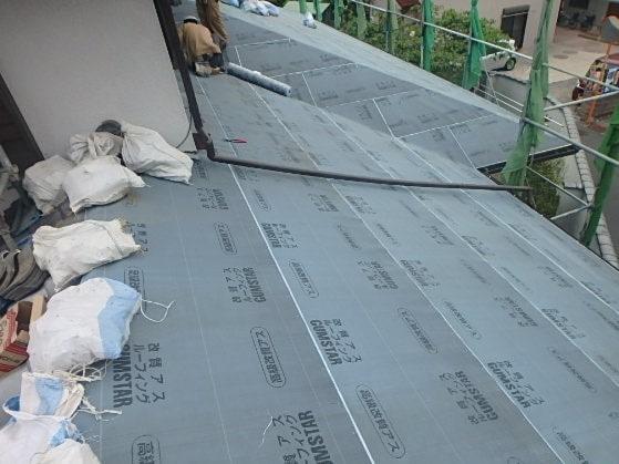みよし市 屋根工事 下屋 屋根葺き直し工事 瓦屋根撤去 下地作り直し (3)-min